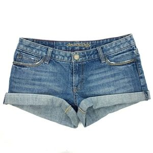 American Eagle Medium Wash Rolled Cuffed Shorts